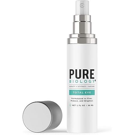 Pure Biology Premium Total Eye Cream - Under Eye Cream Anti Aging Serum with Vitamin C, E & Hyaluronic Acid - Eye Cream for Dark Circles and Puffiness, Wrinkles, Eye Bags - Women & Men Eye Cream -1 oz