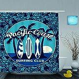 VICAFUCI Imperméable Rideau de Douche,Affiche du Club de Surf Tropical avec Palmiers et Planches de Surf,ImperméableSalle de Bain avec Crochets,180 x 180 cm