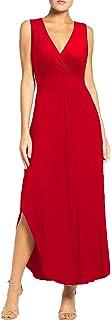 Sponsored Ad - WOOSEA Women Sleeveless Deep V Neck Pocket Loose Long Dress Split Maxi Casual Dresses