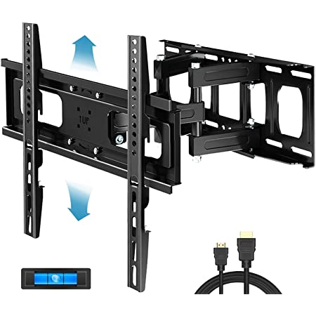 "Everstone Full Motion TV Wall Mount with Height Adjustment for Most 32-65 inch LED, LCD, OLED Flat&Curved TVs, Bracket Swivel Articulating Arms Extension Tilt up to VESA 400mm, 121lbs, 16"" Wood Stud"