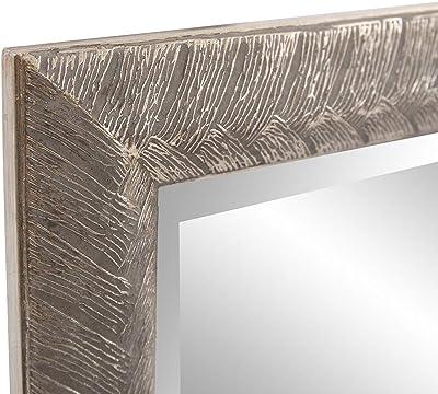 Amazon Com Howard Elliott Malia Hanging Rectangular Wall Mirror Etched Wood Frame Silver Leaf Vanity 20 X 28 Inch Home Kitchen