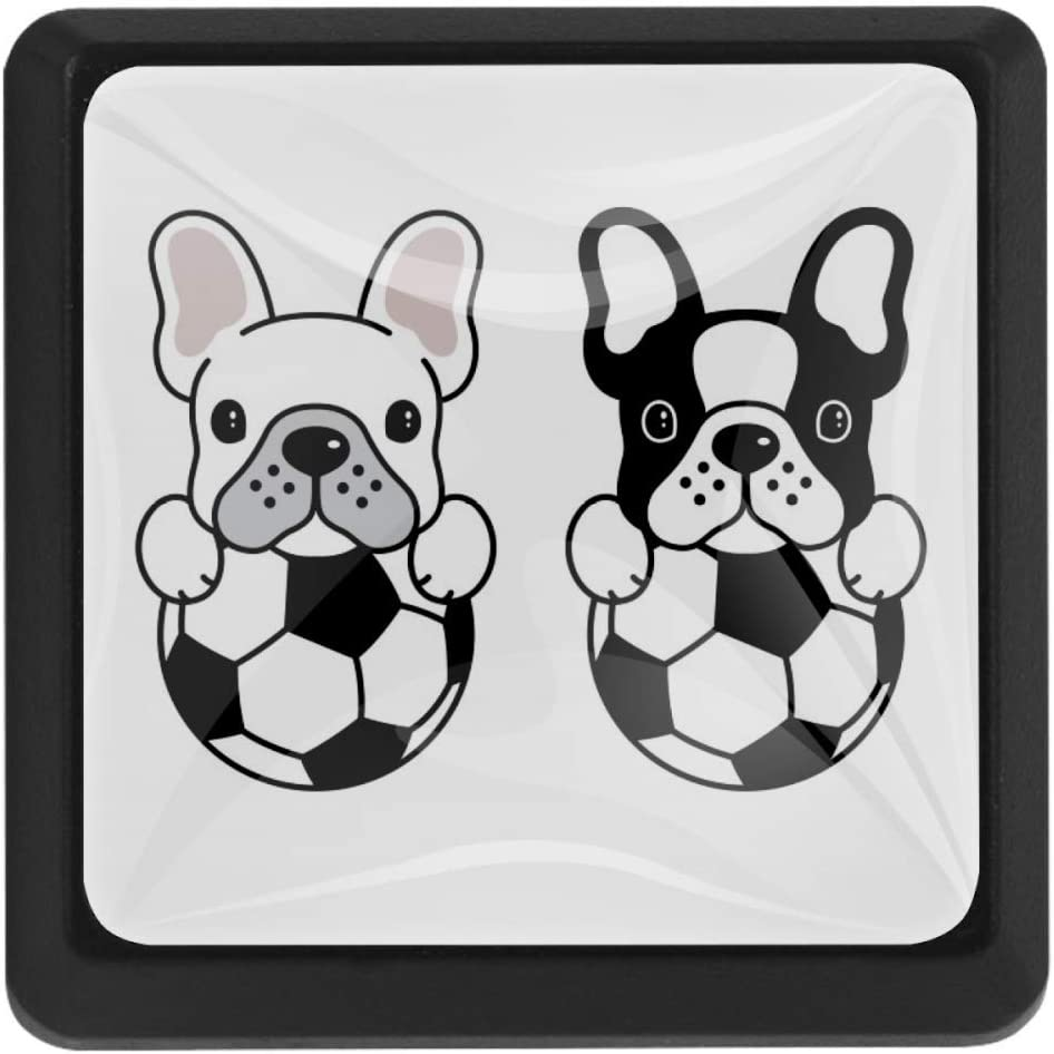 Shiiny Popular overseas French Bulldog Football Square unisex Pulls Knobs Drawer Handles