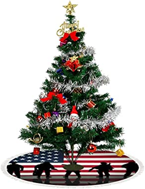 American Flag Veterans Day Soldier Military Christmas Tree Skirt (3 Sizes) - Tree Skirt Christmas Decorations Holiday Short P