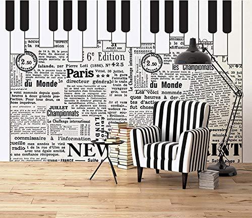 CQDSQN Fotos Retro Zeitungsmusik Klavier Wandgemälde 3D PVC Selbstklebend Wandaufkleber Tapete Kinder Junge Mädchen Karikatur Film Zuhause Schlafzimmer Hintergrund Dekoration Poster Kun(B)500x(H)375cm
