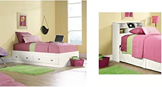 Sauder Shoal Creek Mates Bed, White + Sauder Shoal Creek Bookcase Headboard with Soft White Finish, Twin_Bundle