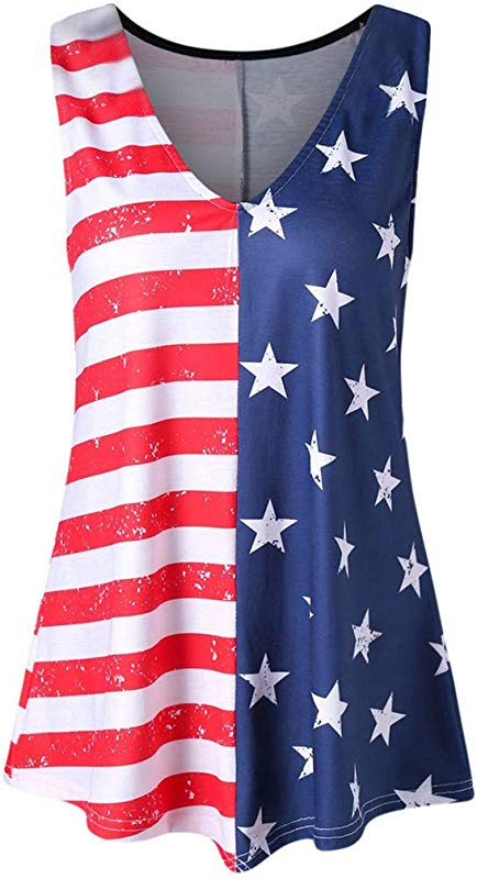 Staron Tank Top For Women 4th Of July Women S USA American Flag Tank Top Lace Sleeveless Loose Fit 4th July T Shirt