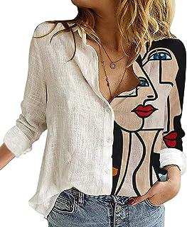 Onsoyours Camicia Donna Elegante Manica Lunga Primavera Estive Bottoni Chiffon Bluse Elegantei Casual Stampa Taglie Forti ...