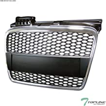 Topline Autopart Chrome/Black RS-Honeycomb Mesh Front Hood Bumper Grill Grille ABS For 05/06-08 Audi A4 B7
