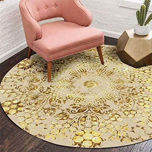 ZJMWQ Runder Teppich Böhmischen Teppich Einfache Moderne Für Wohnzimmer Schlafzimmer Wohnkultur Tisch Stuhl Matte Bad Matte Fußmatte,Gold-160 * 160cm