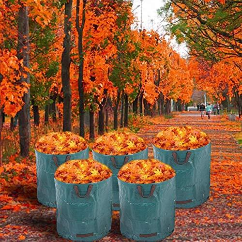 Alaskaprint 5X Gartenabfallsack Selbstaufstellend 272L 272 Liter Gartentasche Gartensack Abfallsack Laubsack Gartenabfälle Gartenkorb verschließbar mit Deckel 380g Sack