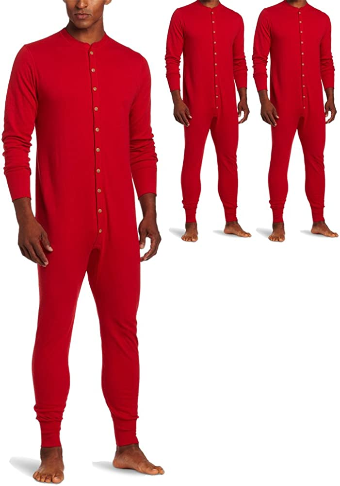 Duofold KMMU Men's Mid Weight Double Layer Thermal Union Suit Red 3 Pack