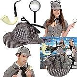 3-teilige Detektiv-Verkleidung * Hut + Pfeife + Lupe * für (Kinder-) Geburtstag, Karneval oder...