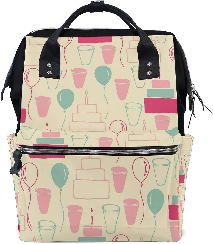 FAJRO Birthday Party PatternTravel Backpack Canvas Handbag School Pack