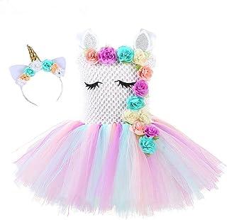 Flower Girls Unicorn Tutu Dress Pastel Rainbow Princess Girls Birthday Party Dress Children Kids Halloween Unicorn Costume