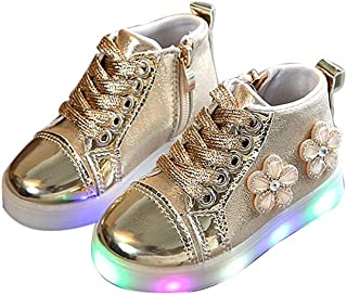 BY0NE Baby Boy Girl Shoes Casual Sneakers LED Light up Shoes Glowing Sneakers Luminous Walking Shoes