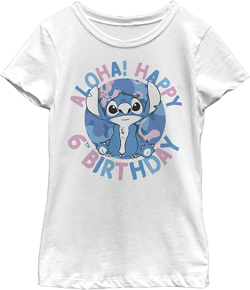 Disney Lilo & Stitch Stitch 6th Birthday Girl's Solid Crew Tee