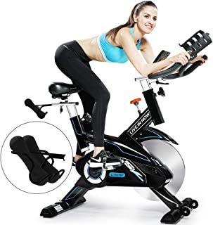 L NOW Indoor Cycling Bike Stationary Exercise Bike Belt Driven Smooth Quiet with LCD Monitor and Dumbbell