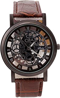Sport Wrist Watches for Men Unique Stainless Steel Analog-Quartz Military Leather Band Dial