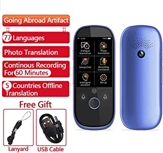 Foreign Language Translators/Photo Translation AI Smart Voice 77 Languages Real-time Face-to-Face WiFi 2.4''TFT 12MP Multi-Function Translator, Traveling, Meeting,Blue
