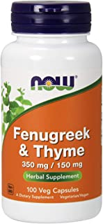 NOW Supplements, Fenugreek & Thyme 350 mg / 150 mg, Herbal Supplement, 100 Veg Capsules