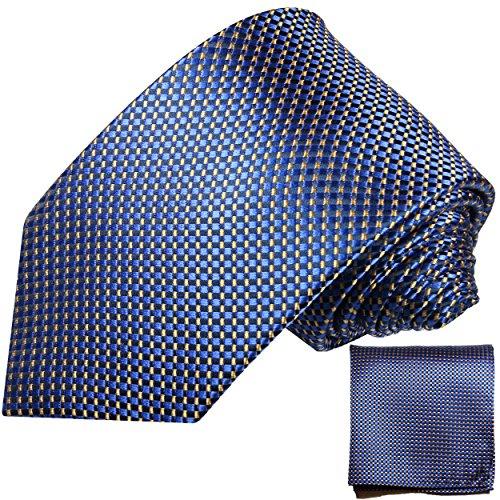 Paul Malone Blau Karo Minimalmuster Krawatten Set 100% Seidenkrawatte + Einstecktuch