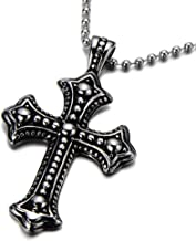 COOLSTEELANDBEYOND Gothic Vintage Cross Pendant Necklace Stainless Steel Unisex Silver Black Two-Tone 23.6 in Ball Chain