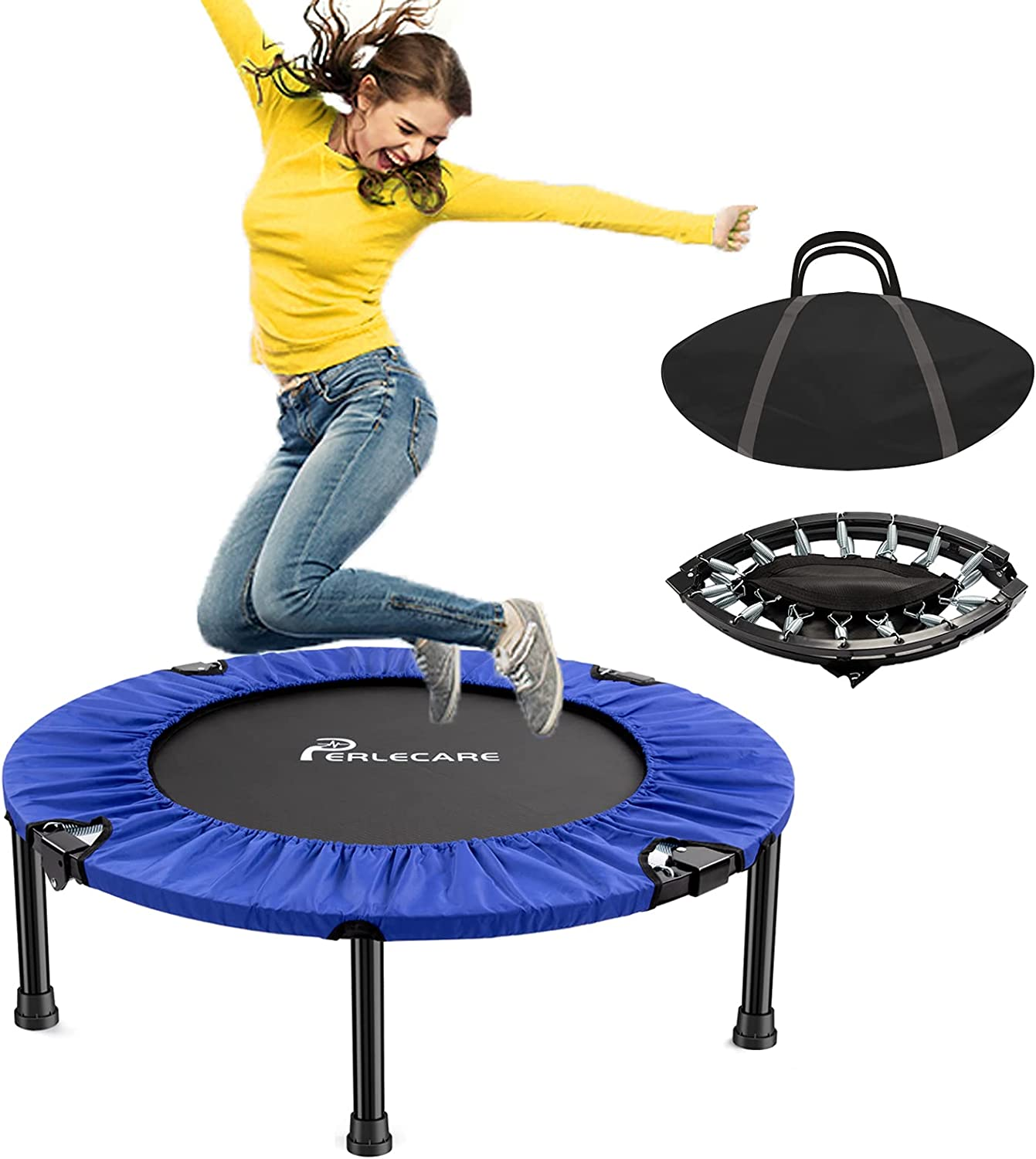 """PERLECARE 38"""" Mini Trampoline for Los Angeles Mall Reb Adults Safety Indoor Mail order cheap"""
