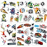 Konsait Football Temporary Tattoos Soccer Ball Face Tattoos for Kids Boys World Cup Soccer Fake Tattoos Birthday Party Bag Stocking Stuffer Goody Fillers Kids Games Gift Party Favor Supplies, 10 Sheet