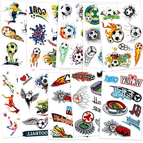 Qpout Tatuaggi temporanei di calcio per bambini, tema di calcio tatuaggi impermeabili ragazzi ragazze sacchetti regalo festa di compleanno omaggi accessori Uomo donna decorazione festa di calcio
