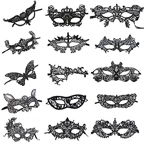 Venetian Style Black Sexy Lace Masquerade Party Masks, Set of 15