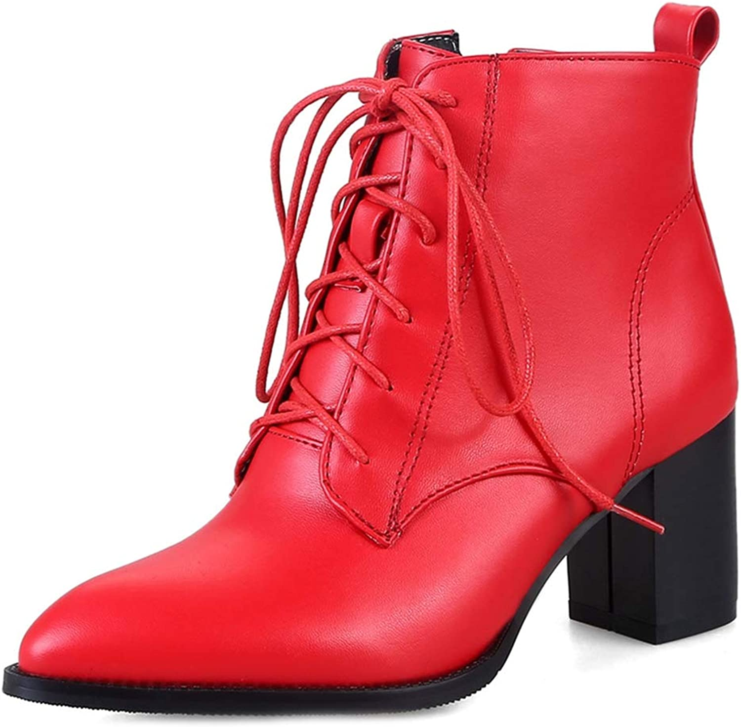 GIY Women's Fashion Pointed Toe Chunky Ankle Boots Block Heel Lace Up Zip Booties Casual Martin Short Boot