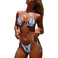 Tainehs Women's Sexy Halter Thong Bikini Tie Side Bottom Triangle Bikini Swimsuits Micro Bikini...