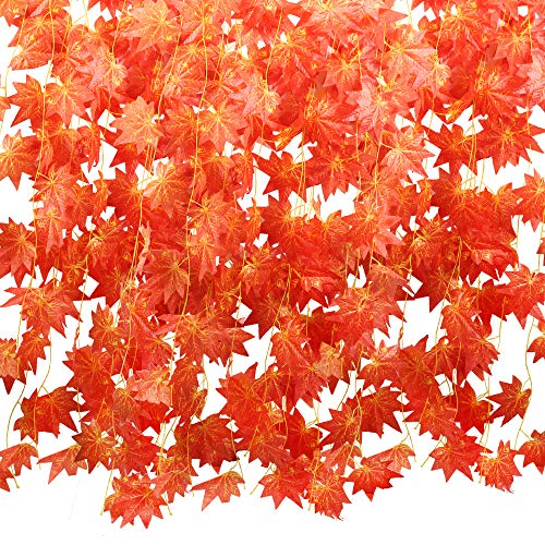 HUAESIN 10 Pack Fall Leaf Garland Fall Leaves Decoration 90 FT Artificial Silk Maple Leaf Hanging Ivy Vine Halloween Garland Autumn for Home Wedding Garden Party Table Decoration