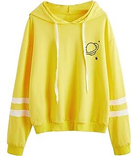 SweatyRocks Women's Planet Print Varsity Striped Drawstring Pullover Sweatshirt Hoodies Tops