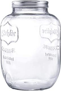 Diamond Star Glass Storage Jar Large Canning Jar Wide Mouth Candy Jars with Brushed Tin Lid (1 Gallons)