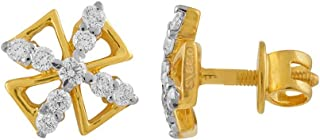 WHP Jewellers 18KT (750) Yellow Gold and Diamond Stud Earrings For Women & Girls
