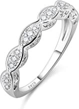 Veunora 925 Sterling Silver Plated Lab-Created Snowflake Promise Proposal Engagement Wedding Rings for Women Girl