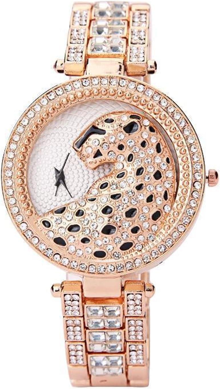 Ownlife Luxury Noble Damas Moda Reloj de Cuarzo Brillante Diamante Gypsophila Pulsera de Acero Inoxidable Modelo de Moda Spirit Leopard Dial (Color : A)