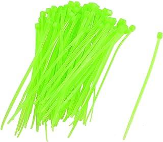 Uxcell a12072400ux0238 de auto-bloqueo de bridas dientes etiqueta marcador amarillo verdoso, 100 piezas,,