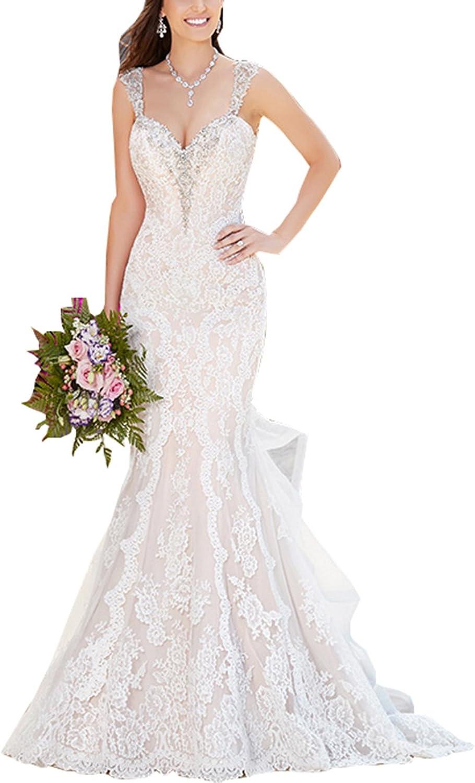 Changjie Women's Mermaid Backless Bridal Lace Wedding Dresses