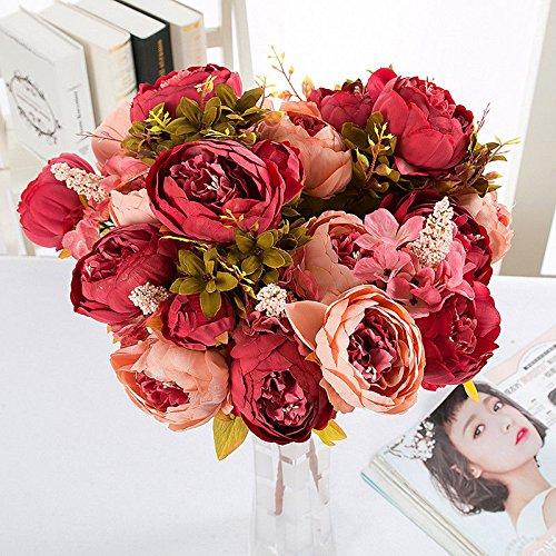 Lanyifang Ramo de Flores de Peonia Artificiales Ramo de Flores de Seda 13 Cabezas para Decoración Casa Nupcial Boda Partido Festival Bar (Rojo)
