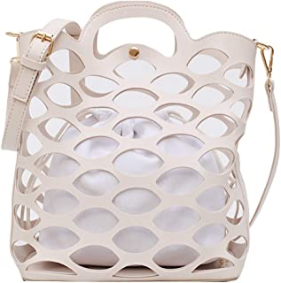 TOOGOO Ladies Bag Hollow Handbag Mesh Bag Beach Handbag Ladies Pu Leather Hollow Shoulder Messenger Bag Yellow