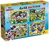 Lisciani Puzzle para niños, 4 puzles de 48 piezas 2 en 1, Doble Cara con reverso para colorear - Disney Mickey Mouse 86610