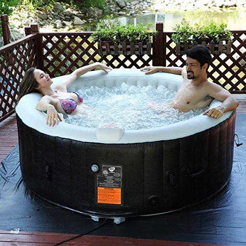 COSTWAY Whirlpool Aufblasbar, Massage Spa Pool √aufblasbar √Heizfunktion √4 Personen √In-Outdoor √Komplettset√Ø180cm√rund
