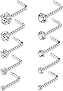 Cisyozi 4 Pairs 22g 20g 18g Stainless Steel Nose Rings Stud Set for Women Men Bone Pin Nostril Piercing Jewelry 1.5mm 2mm 2.5mm 3mm Clear CZ Ball Flat