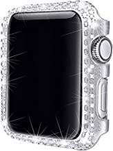 Secbolt 38mm Bling Case Compatible with Apple Watch 38mm, iWatch Series 3 2 1, Stainless Steel Metal Sparkling Crystal Diamond Case Cover Bezel Rhinestone Full Bumper Protective Frame Screen Protector