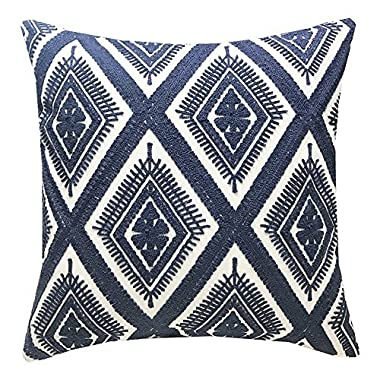 SLOW COW Cotton Embroidery Cushion Cover Decorative Throw Pillow Cover, Geometric Invisible Zipper Pillow Cover for Living Room, 18x18 Inch, Navy Blue.