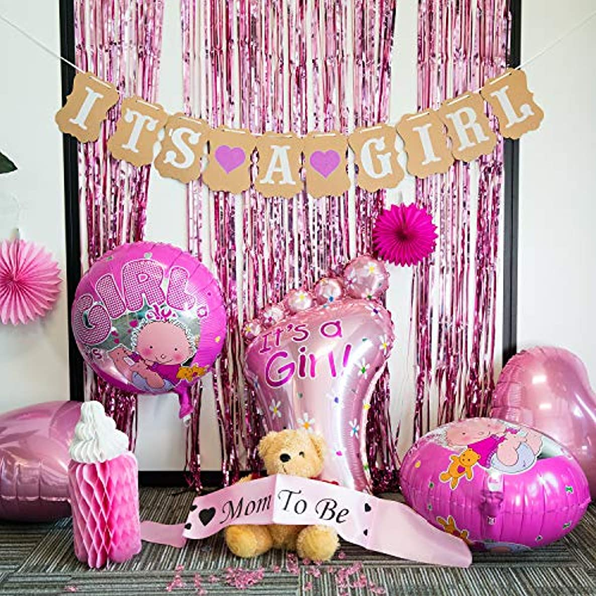 Baby Shower Decorations for Girl - Baby Shower Decorations: It's a Girl Pennant Banner& Mom to Be Sash, Baby Girl Shower Decorations Kit with Banners, Balloons, Pom Poms and Lanterns - Pink