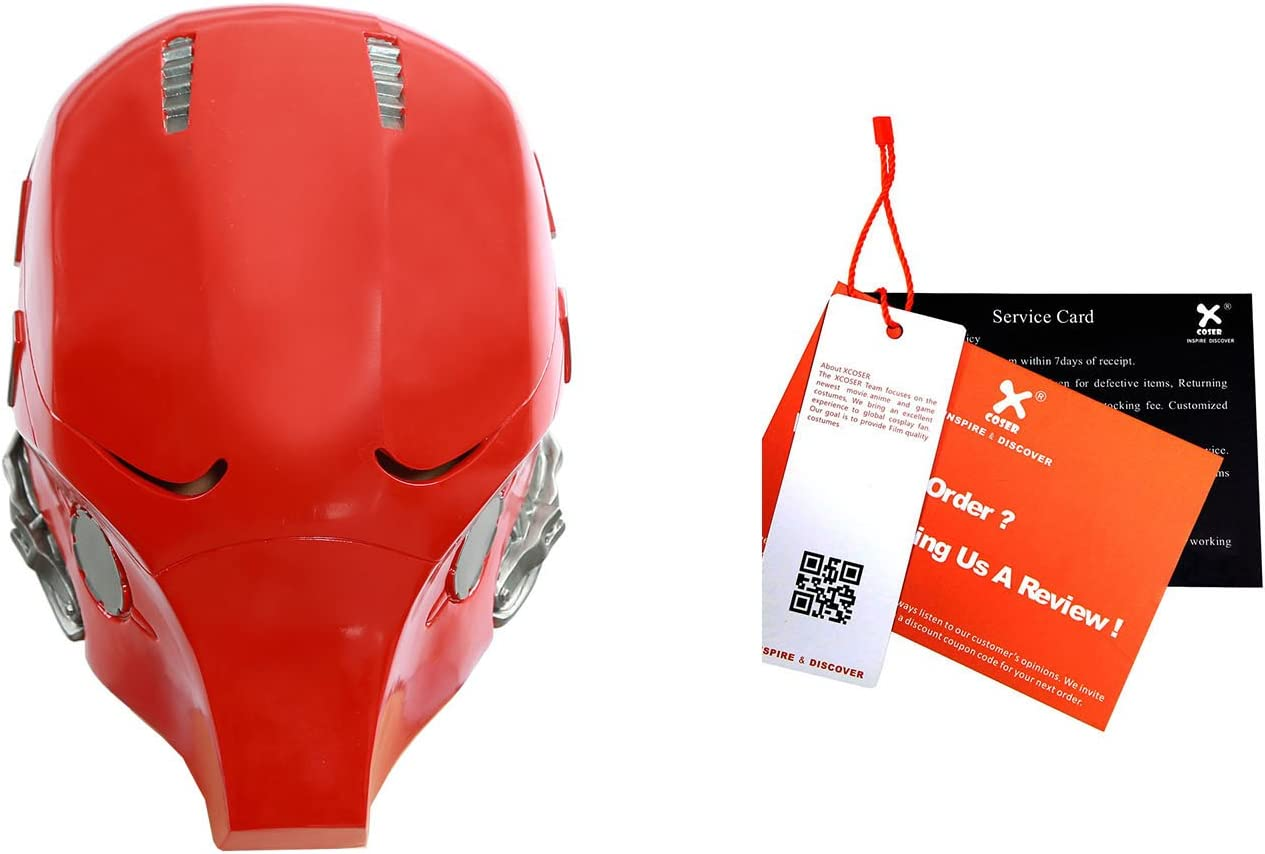 Red Hood Cosplay Mask Helmet Halloween Costumes Accessories Props for Adults