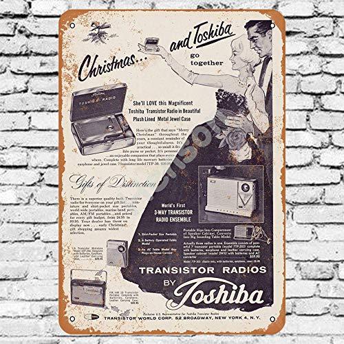 No/Brand 1960 Toshiba Transistor Radios Cartel de Chapa Metal Advertencia Placa de Chapa de Hierro Retro Cartel Vintage para Dormitorio Pared Familiar Aluminio Arte Decoración